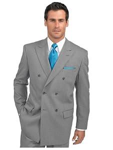 Paul Fredrick Men's 100% Wool Double Breasted Peak Lapel Suit