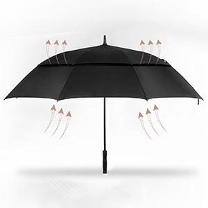 Independent Dual-Frame System Provides Maximum Strength u0026 Ventilation Rain u0026 Wind-Double frame design channels wind through release vents for maximum wind ...  sc 1 st  Oak Leaf & Golf Umbrella | Oak Leaf