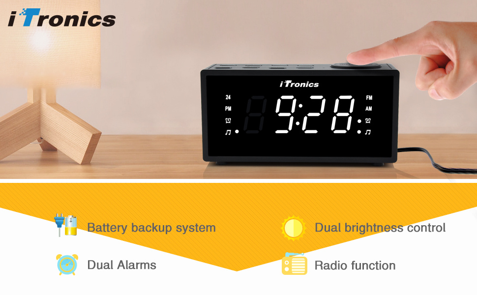 upgraded version itronics led dual alarm clock radio with usb charging digital am. Black Bedroom Furniture Sets. Home Design Ideas