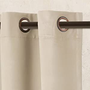 each curtains contains 8 silver steel grommets that have a large diameter of 16inches which lets them easily fit and slide into most of the rods