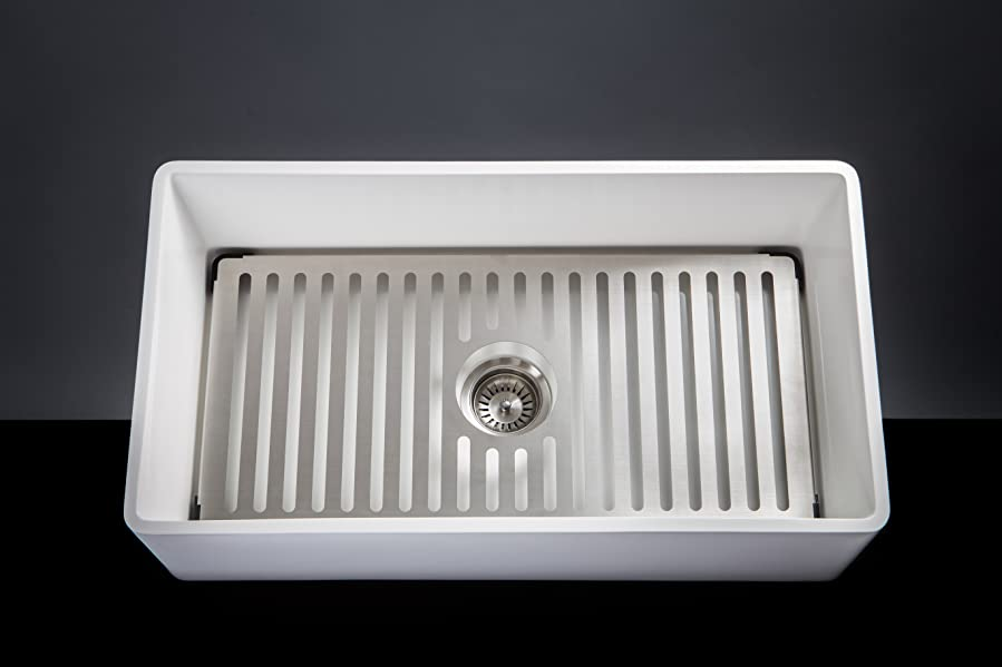 Farmhouse Sink 33 Inch White : Aquavii SoHo 33-inch Farmhouse Kitchen Sink: SOLID SURFACE MATERIAL ...