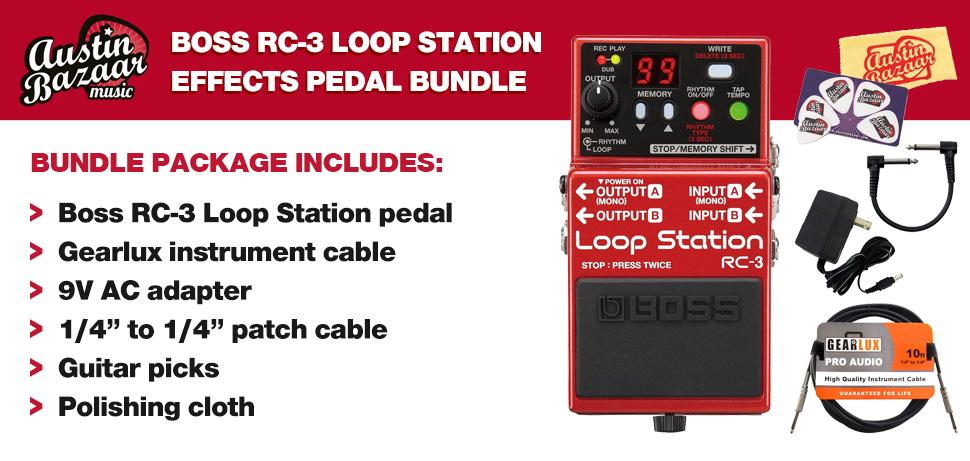 boss rc 3 loop station guitar effects pedal bundle with 9v power adapter gearlu ebay. Black Bedroom Furniture Sets. Home Design Ideas