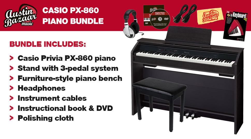 Marvelous This Austin Bazaar Exclusive Casio PX 860 Digital Piano Bundle Includes All  The Accessories You Need To Start Playing Right Out Of The Box.