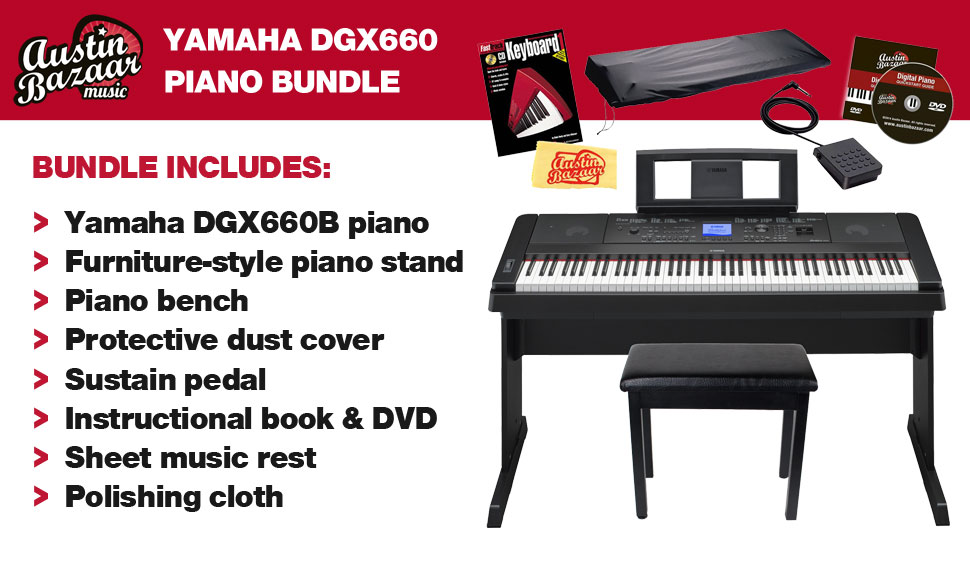 yamaha dgx 660 88 key portable grand digital piano bundle. Black Bedroom Furniture Sets. Home Design Ideas