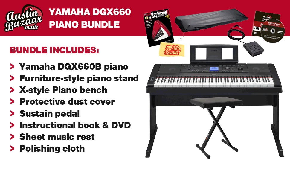 yamaha dgx 660 digital piano bundle with x. Black Bedroom Furniture Sets. Home Design Ideas