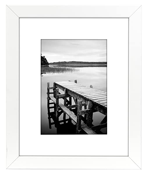 americanflat 8x10 white frame fits pictures 5x7 with mat or 8x10 without