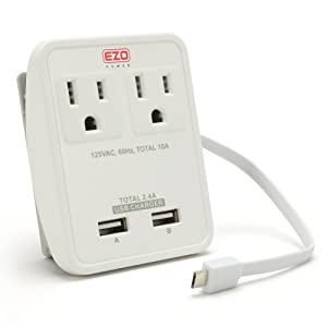 Amazon Com Ul Listed Ezopower International Wall Mount Travel Charger With 2 Ac Outlet 2 Usb