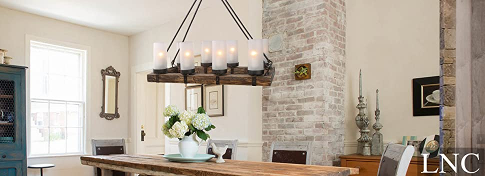 island chandelier lighting. a vintage style wood beam chandelier features distressed strapped with black finish steel and 8 frosted glass cylinder shades in opal island lighting g