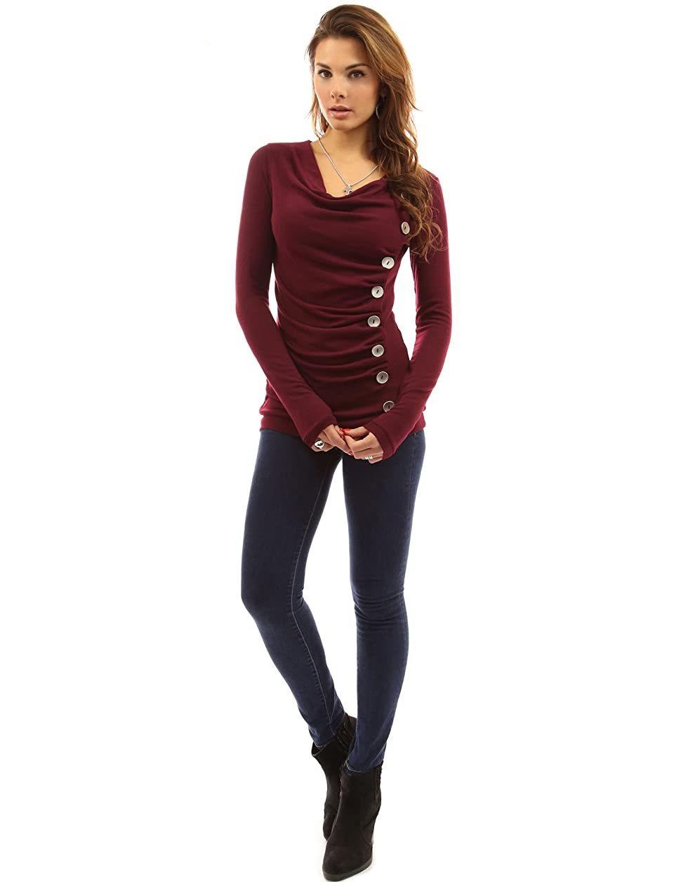 pattyboutik s cowl neck button embellished top at