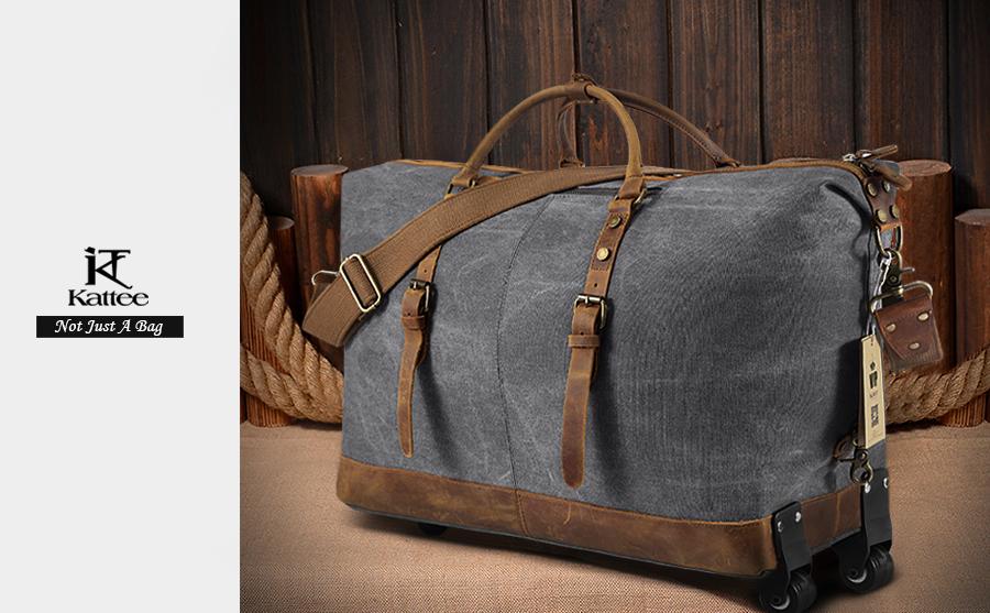 Kattee luggage rolling duffel bag leather trim canvas travel bag ebay for Leather luggage wheeled duffel