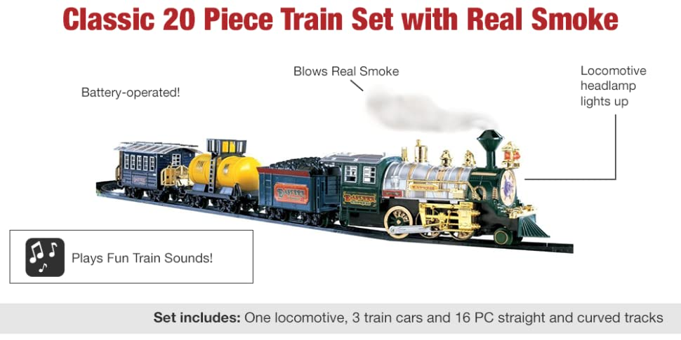 Amazon Com Boys Deluxe Lights And Sounds Train Set Toys