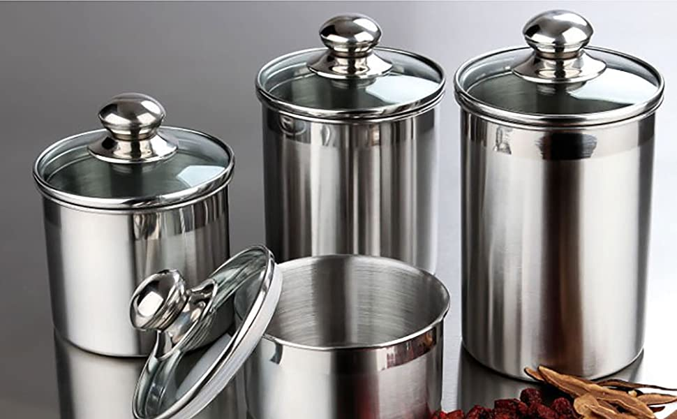 Canister Set Stainless Steel 4 Piece With