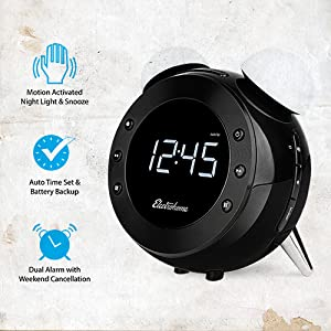 electrohome retro alarm clock radio with motion activated night light and snooze. Black Bedroom Furniture Sets. Home Design Ideas