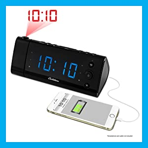 electrohome usb charging alarm clock radio with time projection battery backup. Black Bedroom Furniture Sets. Home Design Ideas