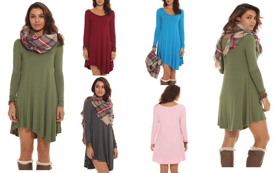 POSESHE Women's Long Sleeve Casual Loose T-Shirt Dress at Amazon ...