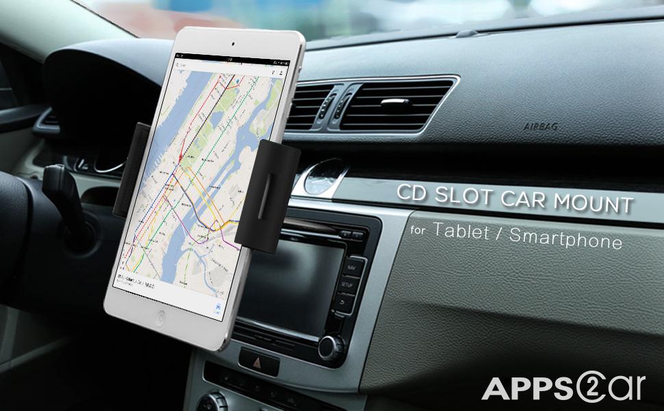 apps2car universal tablet cd slot car mount holder stand computers accessories. Black Bedroom Furniture Sets. Home Design Ideas