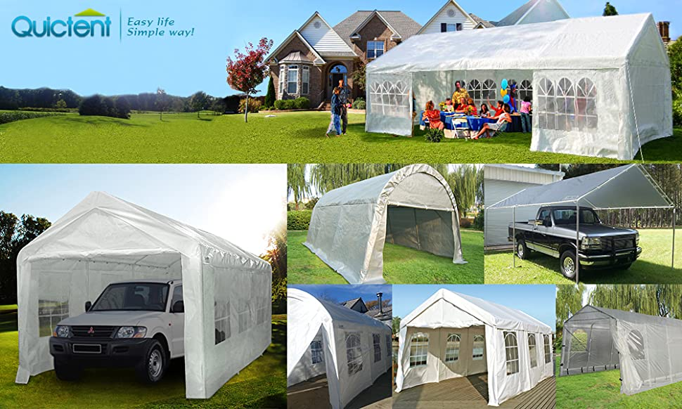 Heavy Duty Metal Carports : Amazon quictent  heavy duty carport gazebo