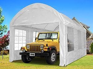 Amazoncom quictent 20x10 heavy duty portable carport for 20x10 garage door