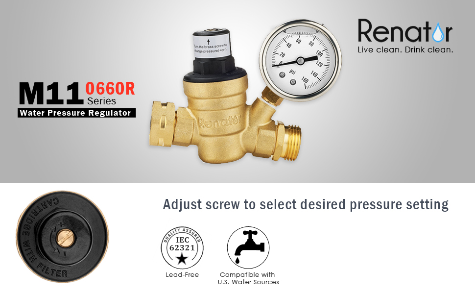 renator m11 0660r water pressure regulator valve brass lead free adjustable water. Black Bedroom Furniture Sets. Home Design Ideas