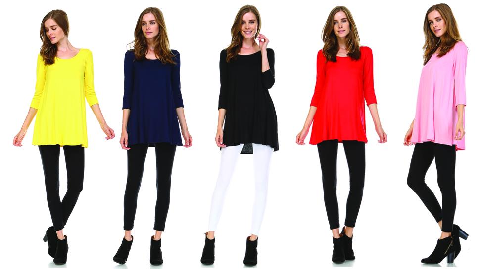 tunic tops for leggings for women 3 4 sleeve shirts for