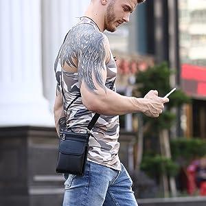 Amazon.com: Cell phone Crossbody Purse Premium Leather Men Bag ...