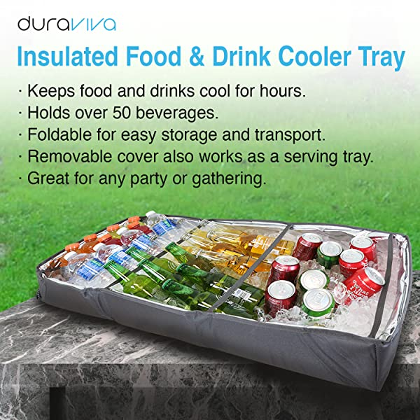 duraviva insulated food drink party serving tray portable foldable cooler for. Black Bedroom Furniture Sets. Home Design Ideas