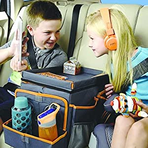 the high road kids large car seat cooler and back seat organizer has a spacious leakproof inside compartment with a divider perfect for chilled snacks