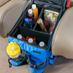 the high road kids large car seat cooler organizer has a spacious leakproof inside compartment and eight outside storage pockets with a flip top game tray