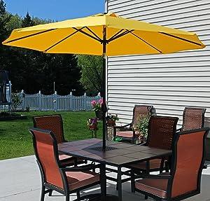 Amazoncom Sunnydaze Gold Aluminum Foot Patio Umbrella With - Outdoor patio umbrellas
