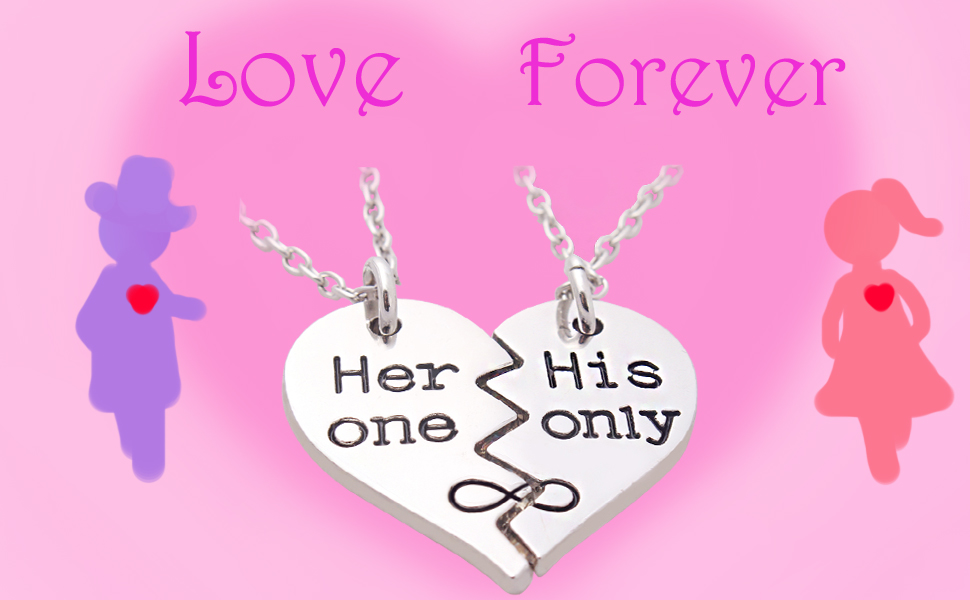 Amazon.com: 2pcs Her one His Only Couple Necklaces Split Broken ...