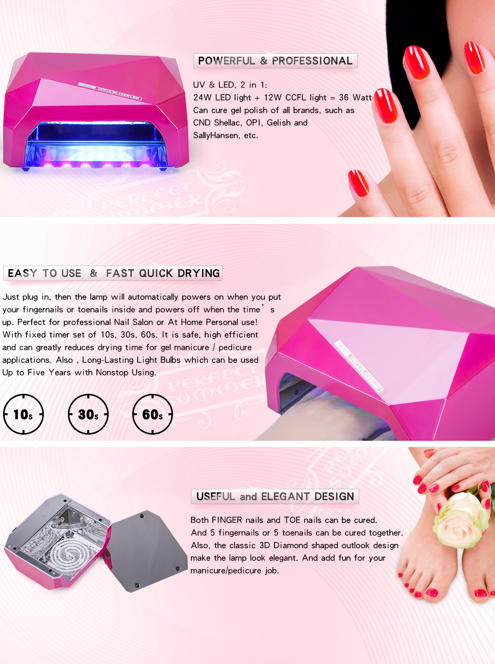 Amazon.com : Perfect Summer Pro 36W LED/UV Nail Dryer Lamp Curing ...