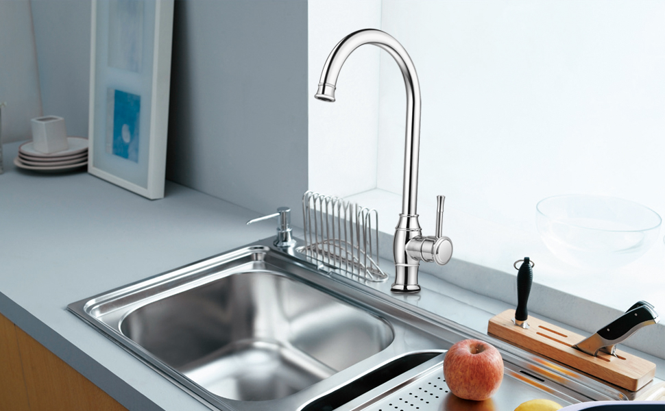 Triple Tree Contemporary Kitchen Faucet, Lead Free Stainless Steel ...
