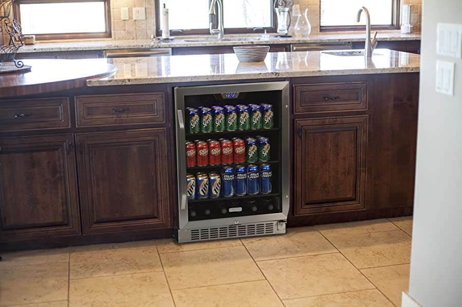 black and stainless kitchen edgestar 148 can stainless steel beverage cooler black and stainless steel