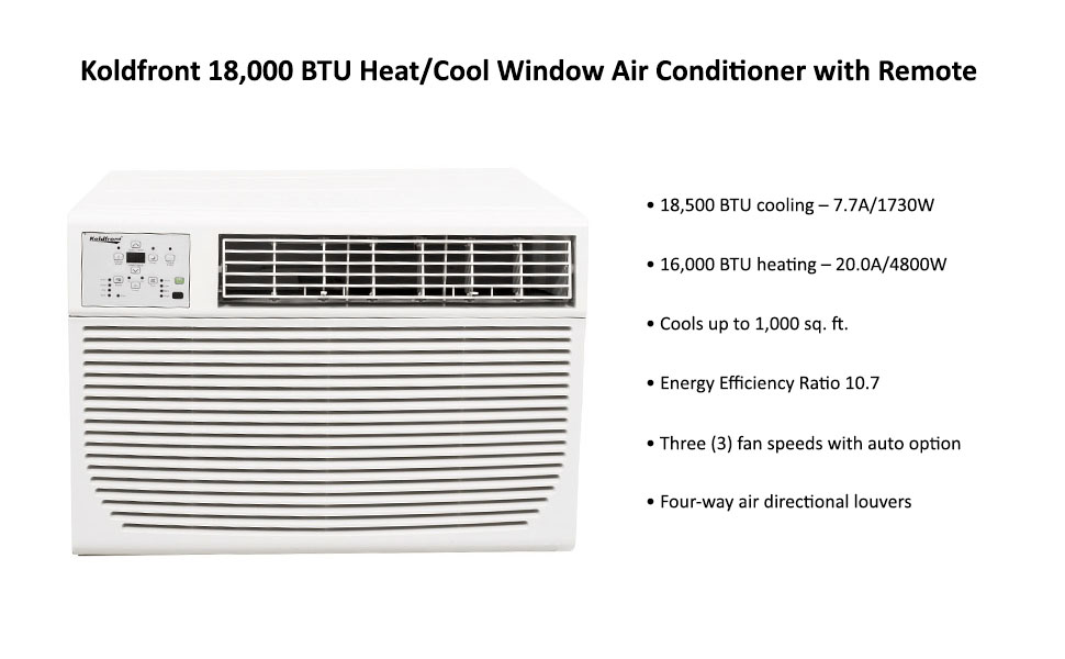 Koldfront wac18001w 18 500 btu 208 230v heat for 18500 btu window air conditioner