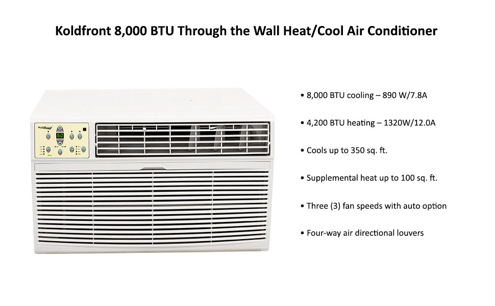 Amazon.com - Koldfront 8, 000 BTU Through the Wall Heat/Cool Air ...