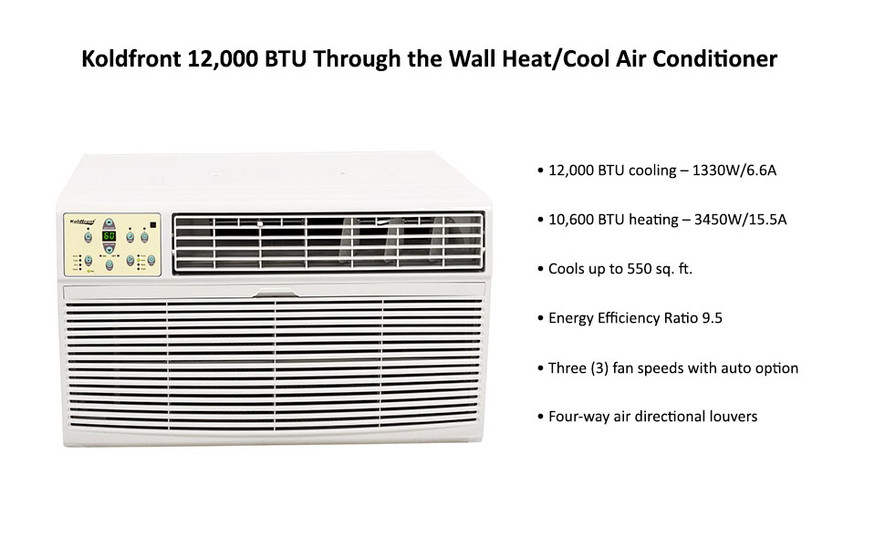 Koldfront 12 000 Btu 220v Through The Wall Heat Cool Air