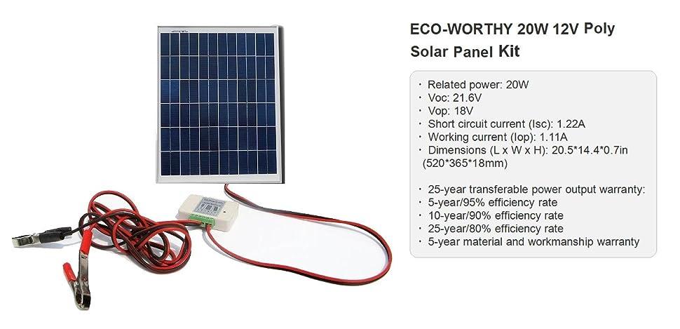 Eco worthy 20w 12v solar panel kit 20 watt for Lampen 0 36w 6v