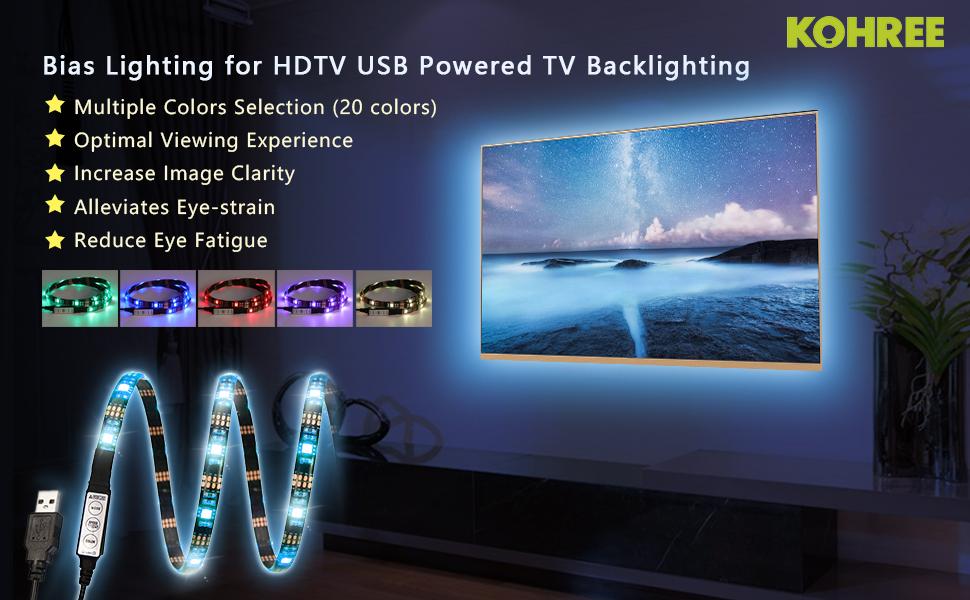 tv accent lighting. kohree bias lighting for hdtv usb powered tv backlighting multi color tv accent t