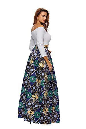 Dearlovers Women African Floral Print Casual A Line Maxi Skirt at ...