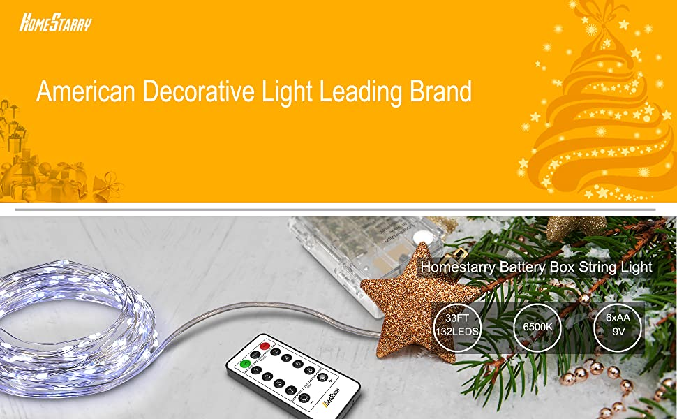 Homestarry Battery String Lights : Homestarry 66 LED Mini Battery String Lights, 16 Feet, Cool White eBay