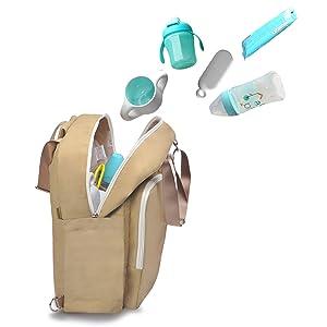 bebamour travel backpack diaper bag tote handbag purse light kh. Black Bedroom Furniture Sets. Home Design Ideas