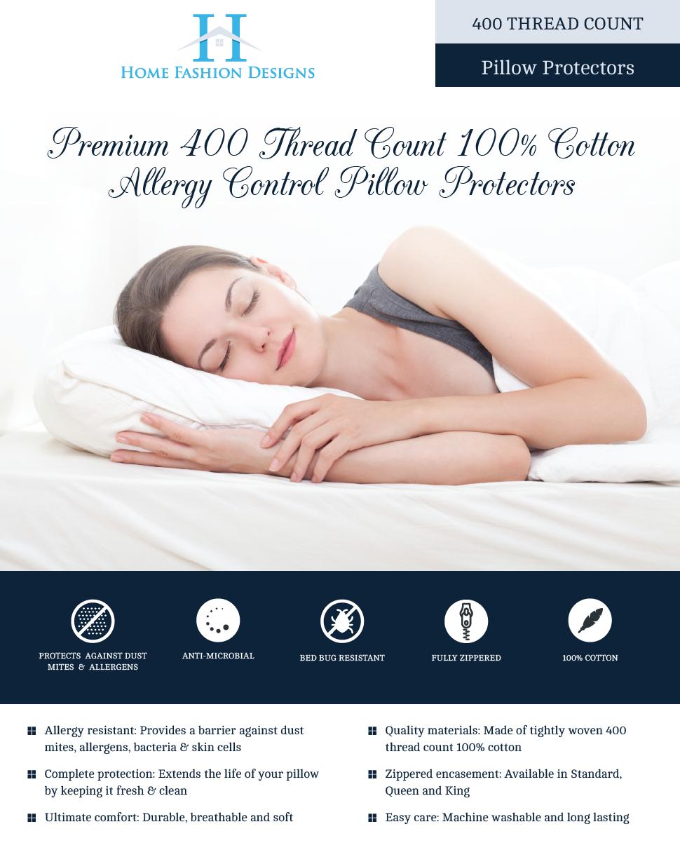 Amazon Com 2 Pack Premium Allergy Pillow Protectors