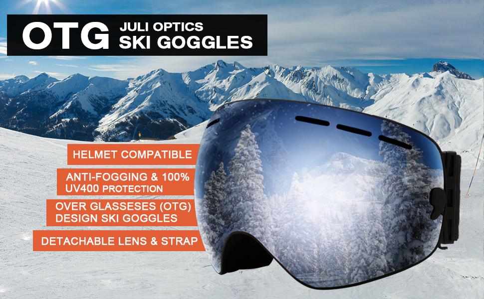 2b56cf3ec4c JULI Ski Goggles OTG - Performance Snow Goggles with Frameless Design  Detachable System for Men
