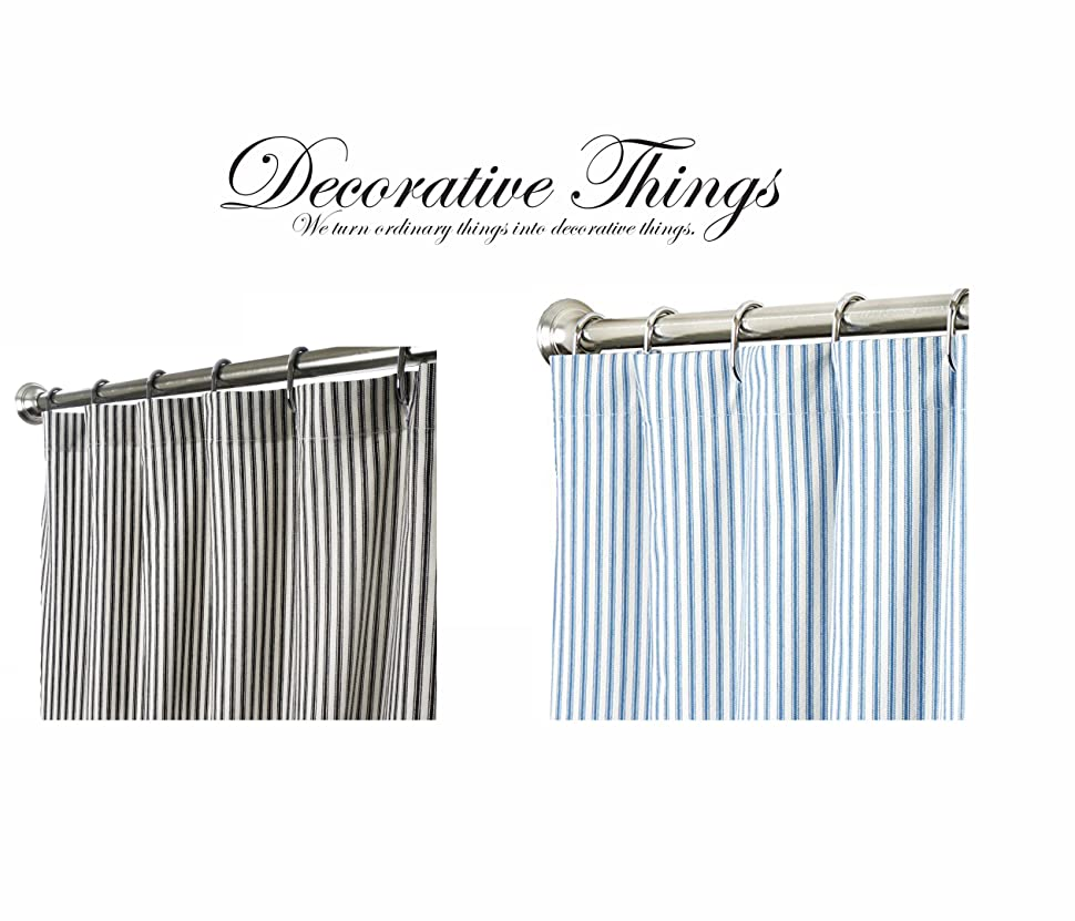 Unique Shower Curtains Black And White Stripe Ticking Fabric 72 X 96