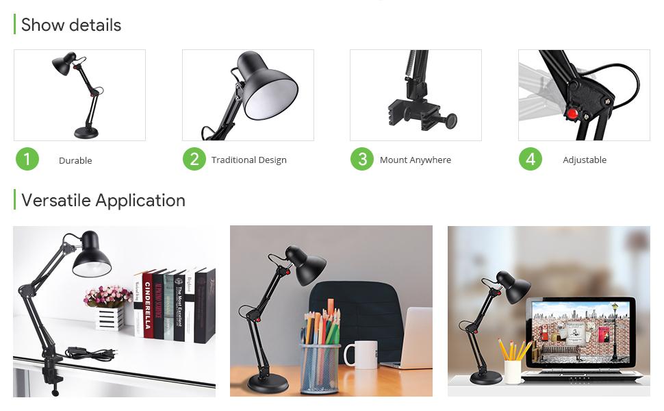 Le Swing Arm Desk Lamp C Clamp Table Lamp Flexible Arm