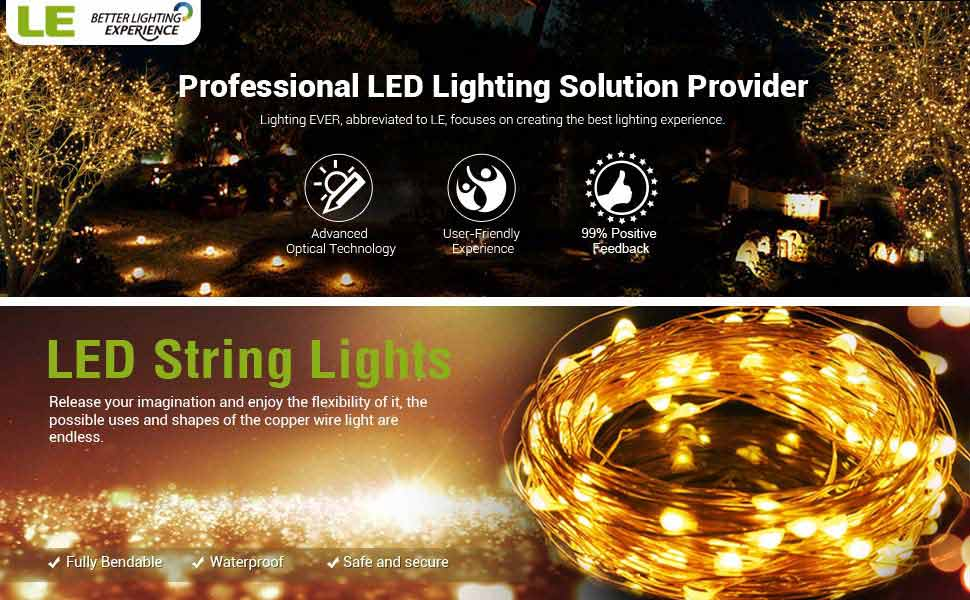 Thanksgiving String Lights Outdoor : Amazon.com: LE 33ft LED String Lights, 100 LED, Copper Wire, Flexible Fairy Lights, Warm White ...