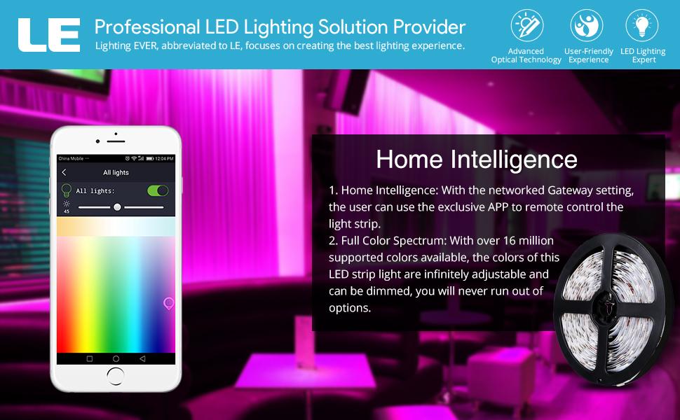 Amazoncom  LE Smart LED Light Strips Dimmable Flexible RGB
