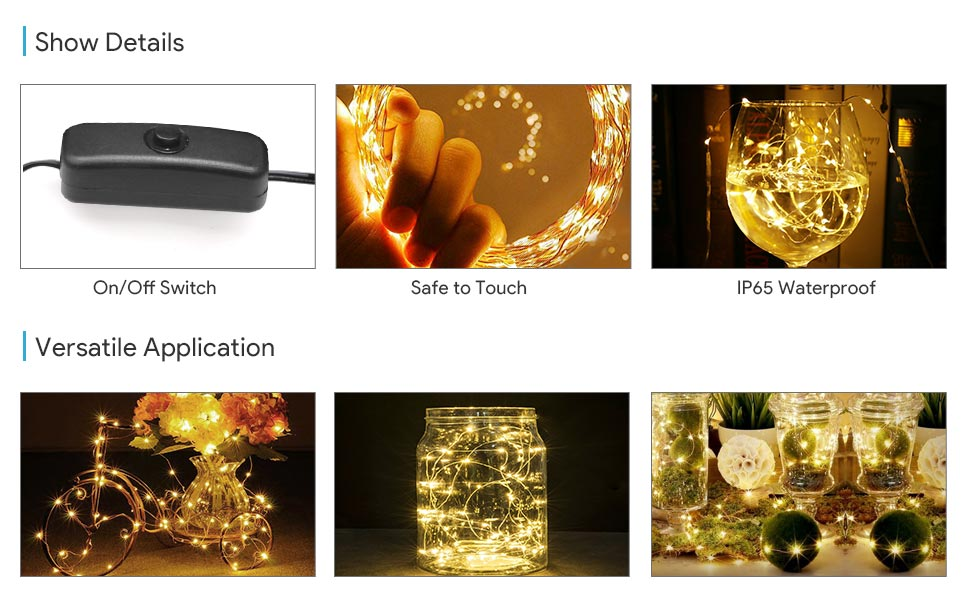 String Lights On Off Switch : Amazon.com: LE 65ft LED String Lights, 200 LED, Copper Wire, Flexible Fairy Lights, Warm White ...