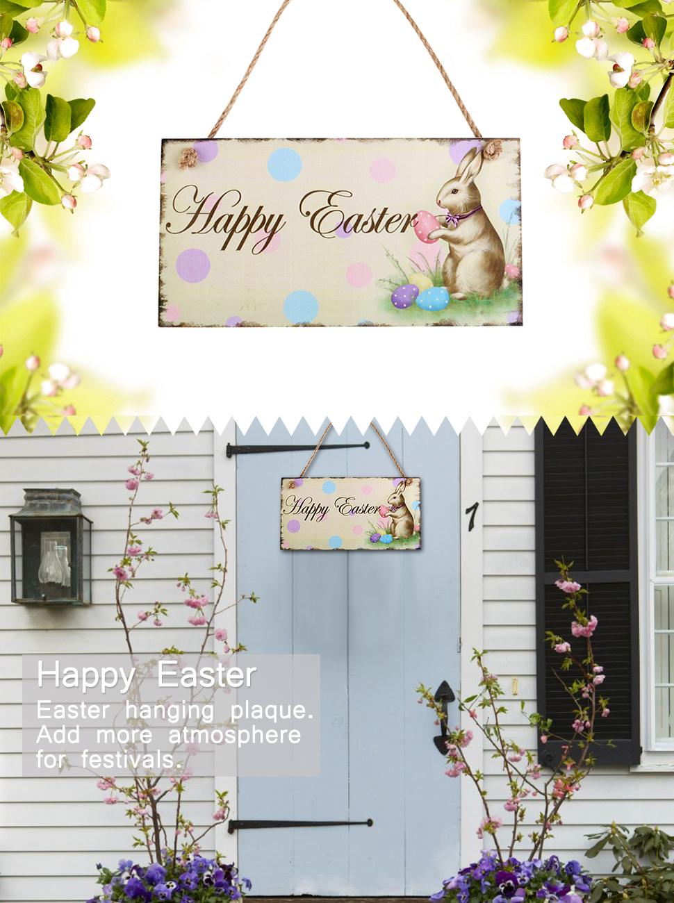 BESTOYARD Easter Bunny Decor Easter Door Hanger Happy Easter Rabbit Wooden Hanging Wall Door Decoration Sign & Amazon.com: Easter Bunny Decor Easter Door Hanger Happy Easter ... pezcame.com