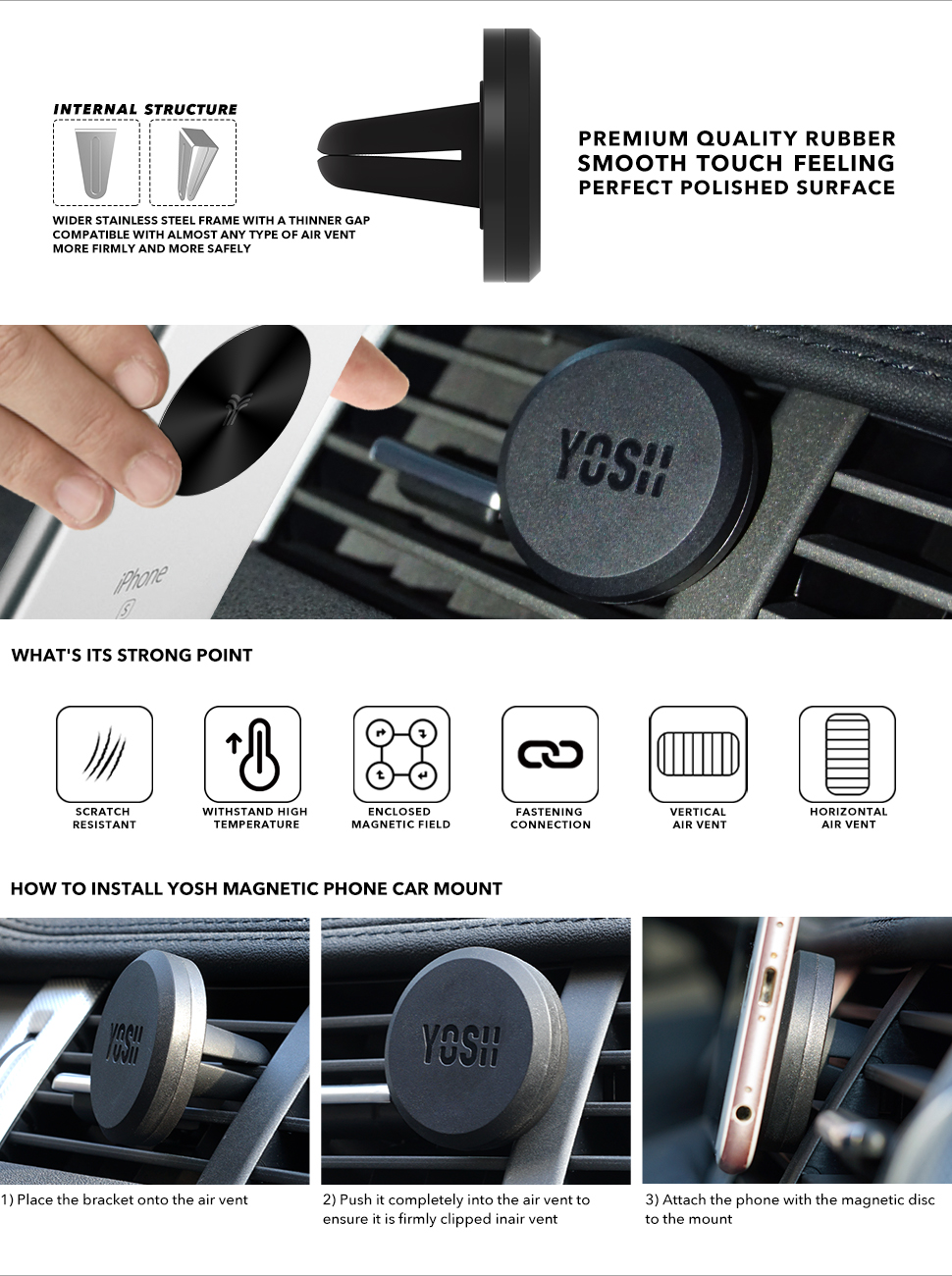 Car phone holder magnetic yosh 11